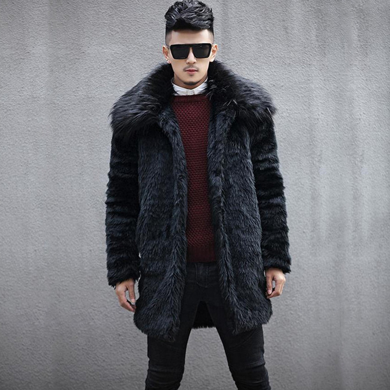 Newest Male Lapel Man-Made  Fur Jackets Black Winter Autumn Mens Large Size Fake Fur Coats Jaqueta De Couro Masculina S/6XL D362(China)