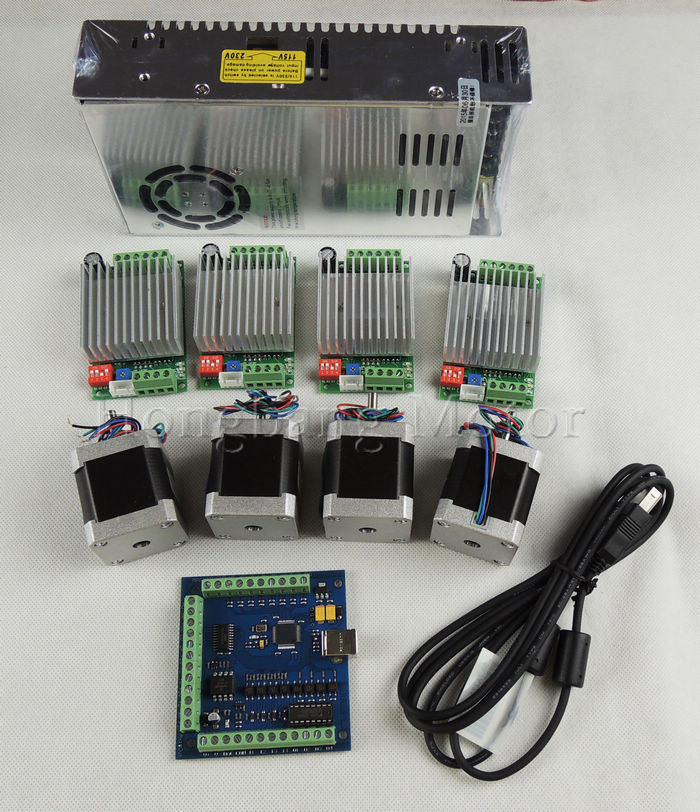 mach3 CNC USB 4 Axis Kit, TB6600 driver+ stepper motor controller 100 KHz+ nema17 motor+power supply