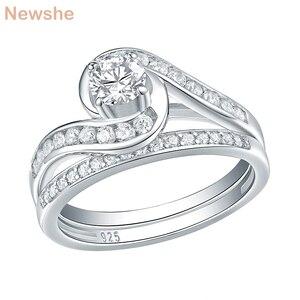 Image 1 - Набор свадебных колец Newshe, 2 шт., чистое 925 пробы, серебряное, 1,13 карат, круглые AAA обручальные кольца с фианитами для женщин, модные украшения