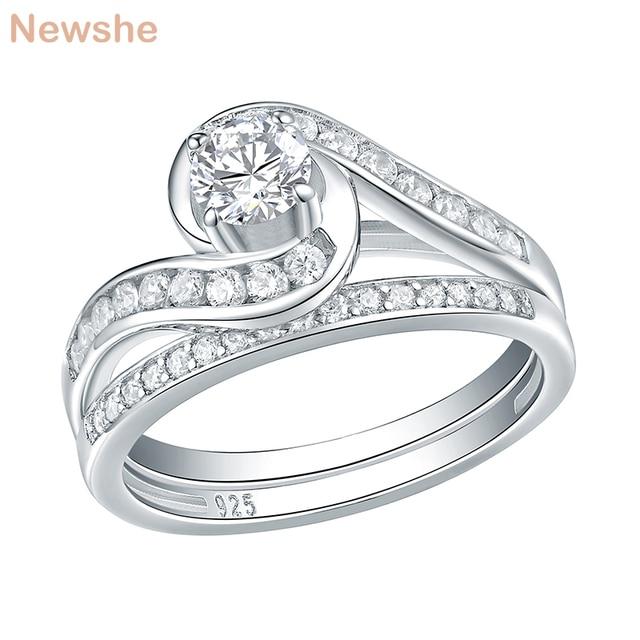 Набор свадебных колец Newshe, 2 шт., чистое 925 пробы, серебряное, 1,13 карат, круглые AAA обручальные кольца с фианитами для женщин, модные украшения