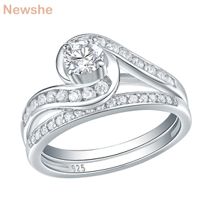Image 1 - Newshe 2 Pcs Eternity Wedding Ring Set Pure 925 Sterling Silver 1.13 Ct Round AAA CZ Engagement Rings For Women Trendy Jewelry