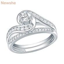 Newshe Conjunto de anillos de boda Eternity para mujer, de Plata de Ley 925 pura, anillos de compromiso redondos de circonia cúbica AAA de 1,13 Ct, joyería de moda