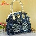 New style women handbag designer woven tote bag delicate diamond large women messenger bag