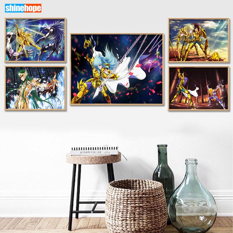 Image 2 - Custom Saint Seiya Canvas Poster 27X40cm30X45cm Home Decor Canvas Printing Silk Fabric Print Anime Wall Poster No FramePainting & Calligraphy   -