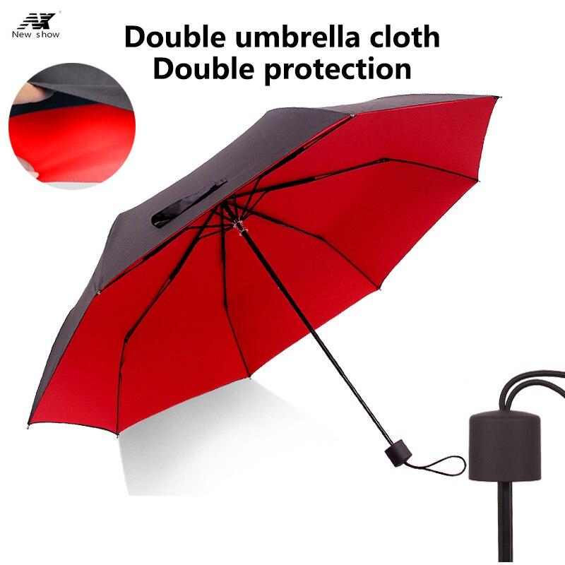 NX 2017 Three Folding umbrella double layer man and women reinforcement windproof Anti UV lady umbrella