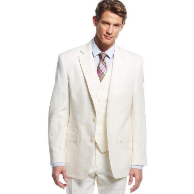 Newest Linen Groom Tuxedos Notch Lapel Men's Suit Ivory Groomsman Father of the bride suits(Jacket+Pants+Vest)