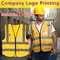 Safety reflective hi vis vest golden multi pockets knitted vest waistcoat reflective gilet company logo printing  free shipping