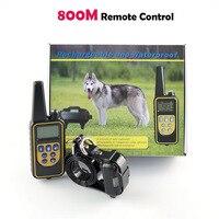 800 M Hund Ausbildung Kragen Wasserdichte Wiederaufladbare Fernbedienung Hunde Elektrische Shock Antibell Training Kragen mit LCD Display