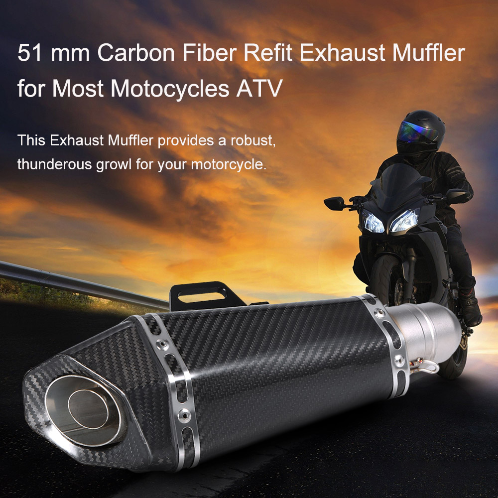 51mm Automobiles Motorcycle Exhaust Carbon Fiber Refit Exhaust Pipe Small Hexagon Style for Universal Exhaust Motorcycle Muffler universal 570mm motorcycle akrapovic exhaust muffler pipe motorbike scooter glossy carbon fiber muffler exhaust pipe escape