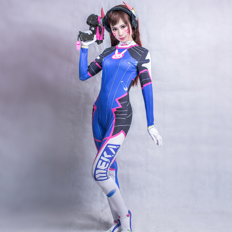 2019 Halloween costumes 3D Printing Overwatches Lady D VA Costume for women plus size Cosplay dva Zentai Spandex Dva Bodysuit 4