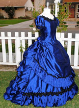 Blue Short Sleeves Vampire Claudia's Gothic Victorian Gown