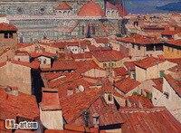 בד מודפס סיטונאי אדום בית אמנות הדפסי בד ציור שמן רבייה של תמונה לבית