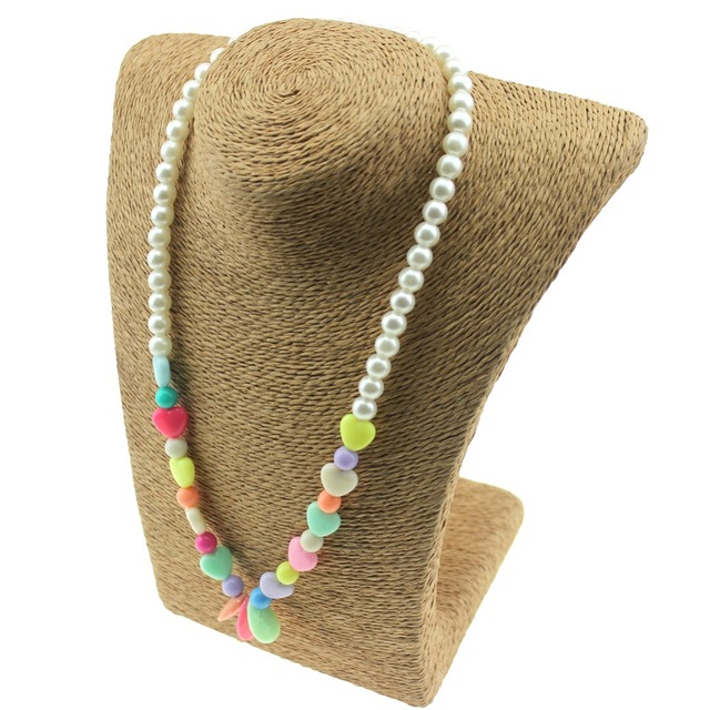 Pearl Necklace Candy Color Necklace Beaded Charming Necklace Children Cosplay Accessory Pink Girl Party Multicolor Jewelry