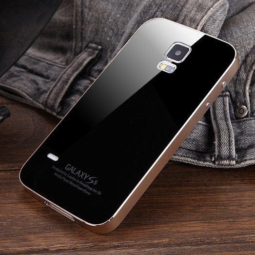 new product 39fb6 10cb7 US $29.08 |Luphie Luxury S5 Metal Aluminum Frame and Tempered Glass Back  Cover Case for Samsung Galaxy S5 I9600 Phone Bag Cases on Aliexpress.com |  ...