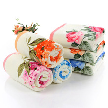 2018 new fashion Ladies 2pcs/set 34*74cm Soft Pink Blue Cotton Flower Face Towel Floral Terry Towels Peony Washcloth Camping все цены