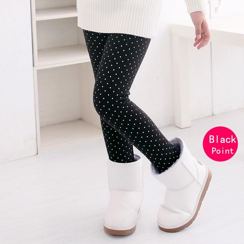 SheeCute/новые модные детские От 3 до 11 лет; сезон весна-осень-зима; теплые хлопковые брюки для девочек; детские брюки; леггинсы с принтом - Цвет: Black Point