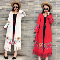 Vintage Cotton Summer Women Long Sleeve Linen Cardigan Sexy Tassel Ladies Lapel Long Jacket Blouse Shirt Beach Cover Up