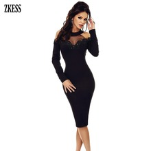 ZKESS Women Black Sheer Lace Crochet Applique Mesh Insert Cold Shoulder Midi Dress Sexy Long Sleeve Party Sheath Dress LC61894