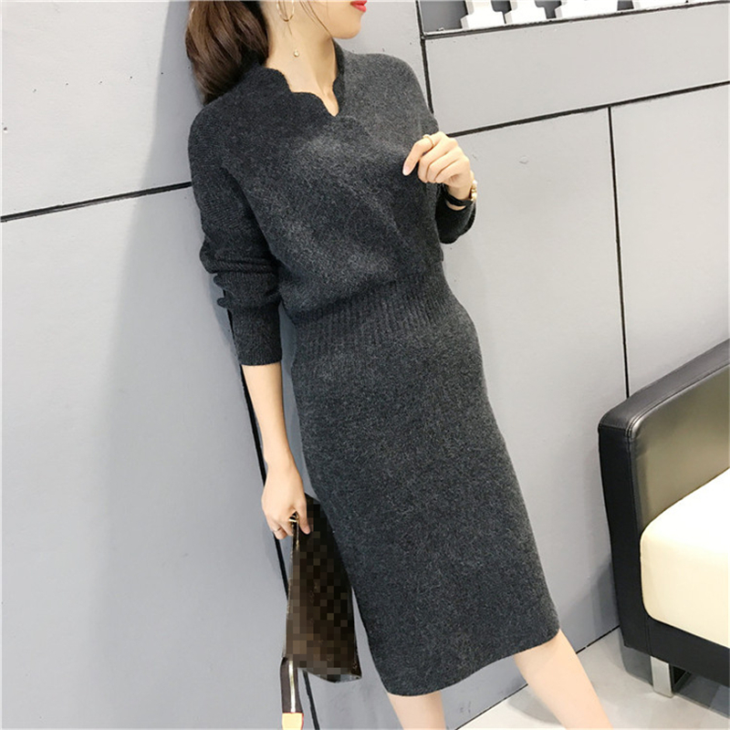 DoreenBow New Autumn Winter Style Wool Knitted Dress Women Fahion Elastic Waist Long Sleeve Black Green