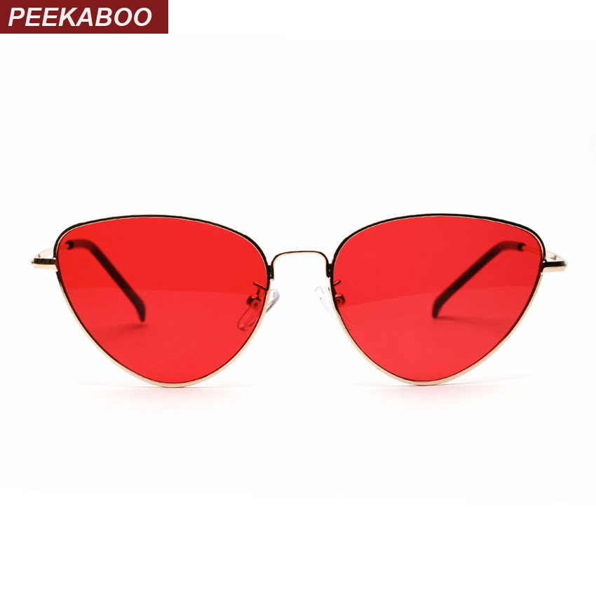 Peekaboo red cat eye sunglasses wanita batal lens sun glasses untuk wanita cat eye logam pink kuning uv400