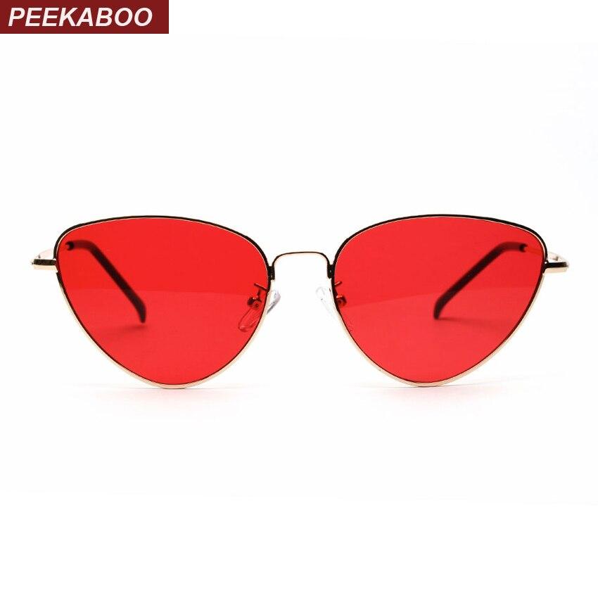 Peekaboo rojo gato ojo gafas de sol mujer lente transparente gafas de sol para mujer ojo de gato metal rosa amarillo UV400