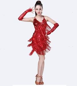 Image 5 - Traje de baile latino con lentejuelas para mujer, brillantes vestidos para fiesta, baile latino con flecos, Samba, Rumba, Tango
