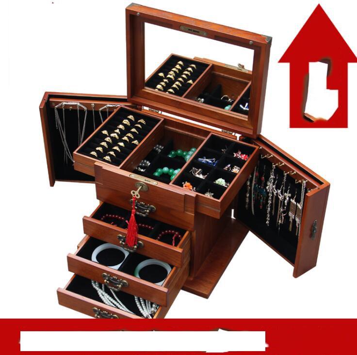 Cutii de bijuterii cu caseta de blocare solidă de bijuterii din lemn Printesa de capacitate mare europene Stil de nunta coreeană de nuntă Cutii de depozitare cutii