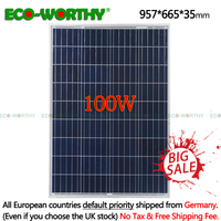 2019 100W 18V Polycrystalline Solar power Panel for 12v Battery off Grid System Solar for Home System 18V 100W solar panel CELLS