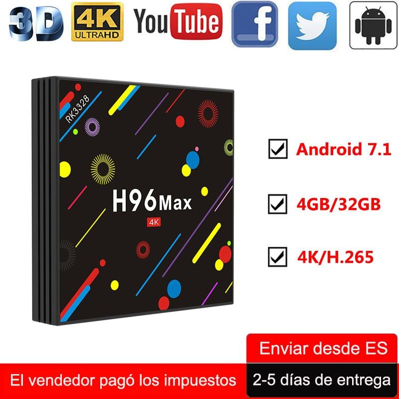 H96 Max Android 7.1 Smart TV BOX 4GB 32GB 4K Media Player RK3328 Quad Core Wifi Bluetooth H.265 1080P HD Internet TV Set-top Box hd 4kx2k s905 quad core 2 4ghz wifi