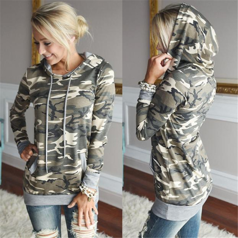#3533 Enduring Newly design Womens Camouflage Printing Pocket Hoodie Sweatshirt Hooded Pullover Tops Blouse