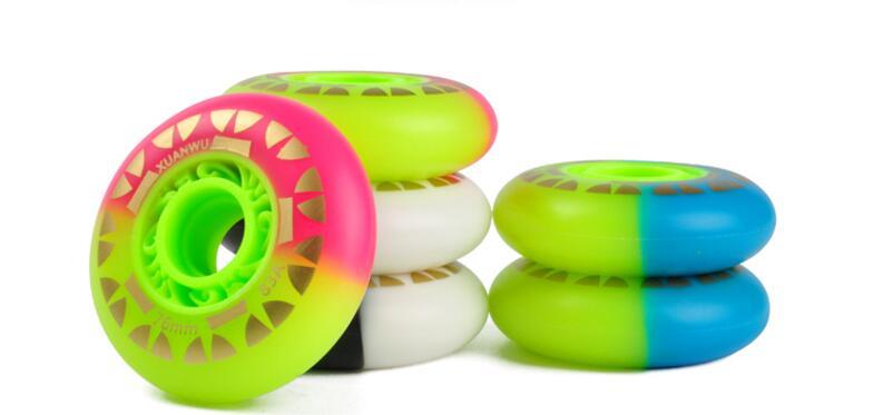 8PCS/Set 72/76/80mm Roller Skate Wheels Double Colors 85A PU Inline Skates Wheels Drift Board Snake Board Wheels