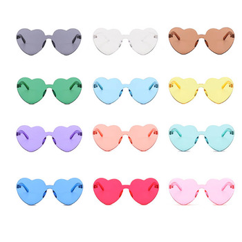 Love Heart Shape Sunglasses Women Rimless Frame Tint Clear Lens Colorful Sun Glasses Red Pink Yellow Shades Travel Accessories Women's Sunglasses
