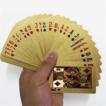 Talia złotych kart do pokera złota folia 24 karaty zestaw z tworzywa sztucznego wodoodporne karty magiczne tanie i dobre opinie CN (pochodzenie) 8 lat 0-30 minut Nieograniczony Primary playing cards Normalne Inne buławy card game
