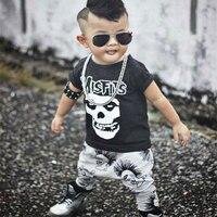 Newborn Boys Girls Baby Clothes Sets Jumpers Toddler Fall Skull Print Baby Punk Rock Harlan Pants
