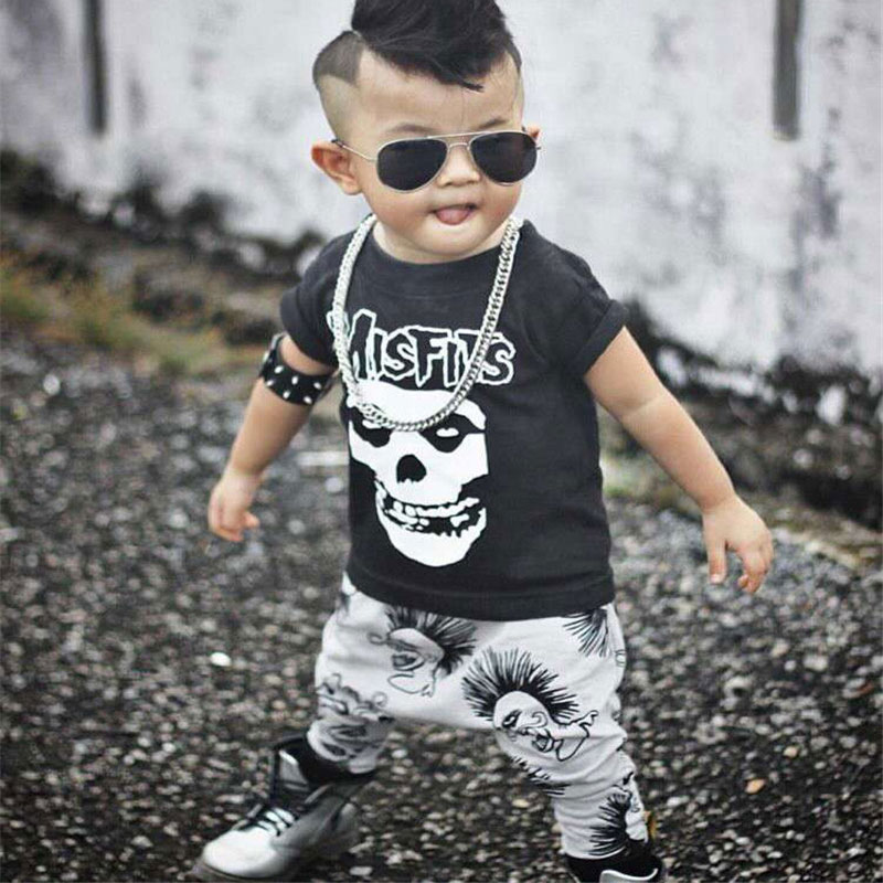 Newborn Boys Girls Baby Clothes Sets Jumpers Toddler Fall Skull Print Baby punk rock Harlan Pants