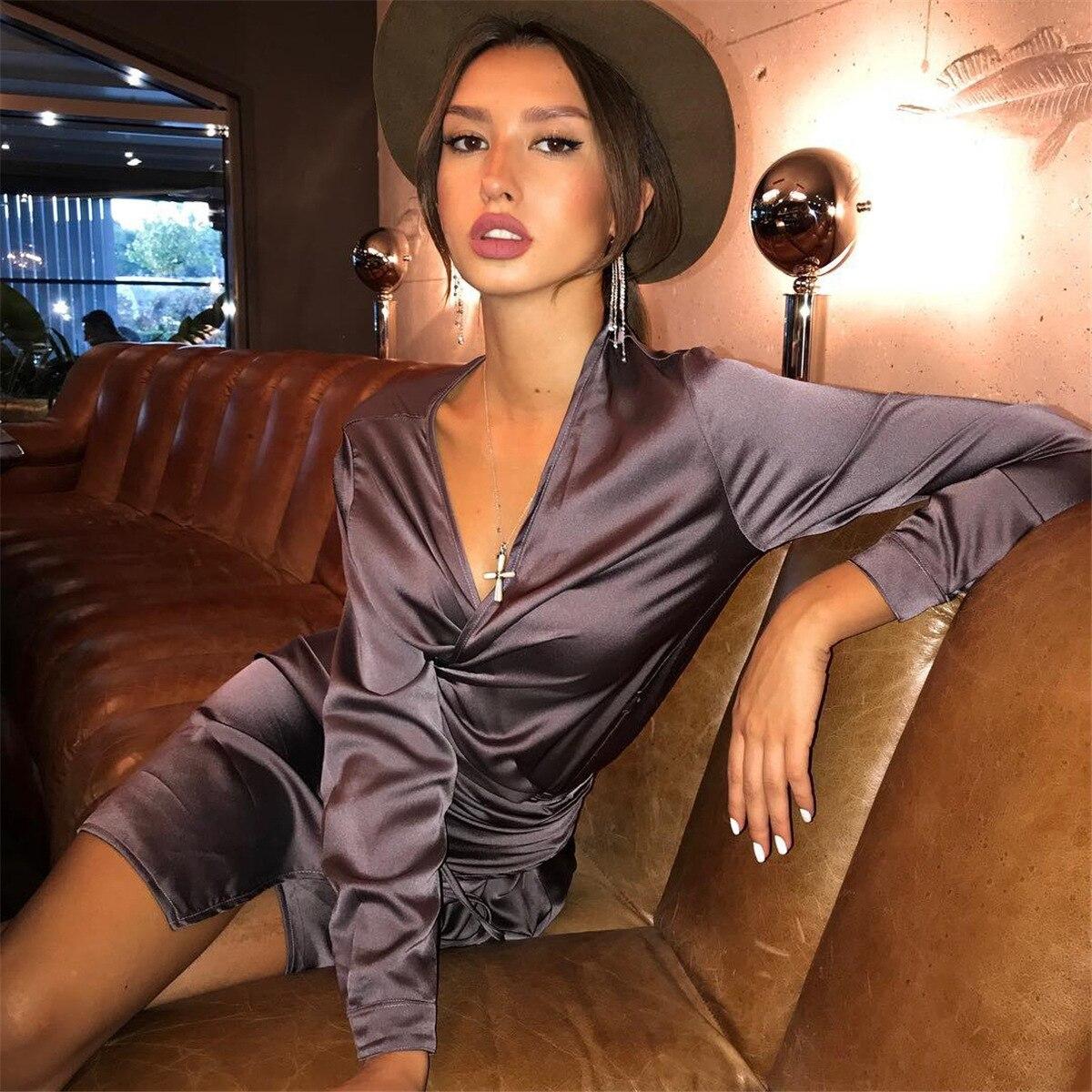 fa7a6865aef BOOFEENAA Satin Silk Sexy Long Sleeve V Neck Midi Wrap Dress Winter ...