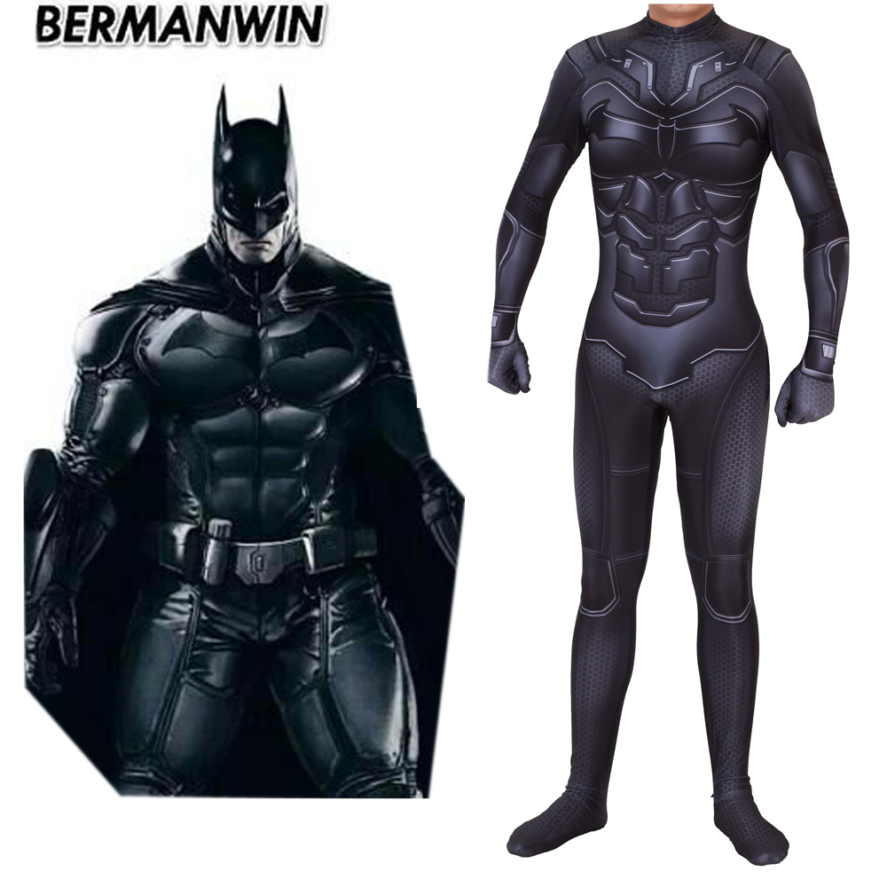 New Movie Batman DarKnight Cosplay Costume Bruce Wayne Superhero Zentai Bodysuit Suit Jumpsuits