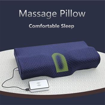 Almohada de masaje eléctrico de látex ortopédico magnética de 50*30 CM almohada de cuello de rebote lento memoria almohada de espuma de cuidado de la salud dolor liberación