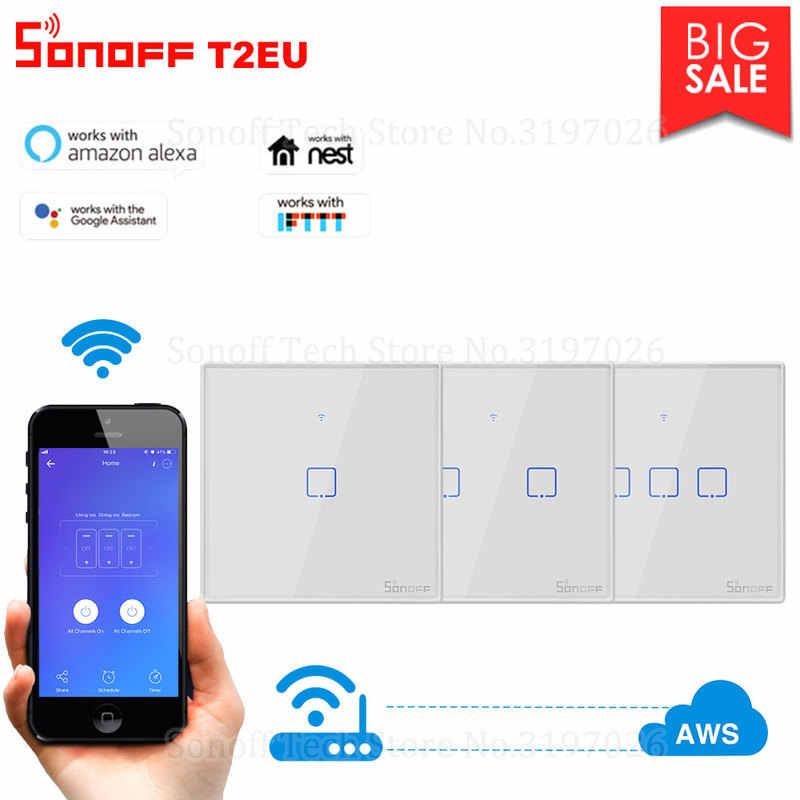SONOFF T2 Bảng Điều Khiển Thông Minh WiFi Thông Tắc Thông Minh Với 2/1 Các Băng Nhóm EU & Anh & Hoa Kỳ Cho Alexa Giá Đỡ/Google nhà Mini Sonoff Nhà Thông Minh