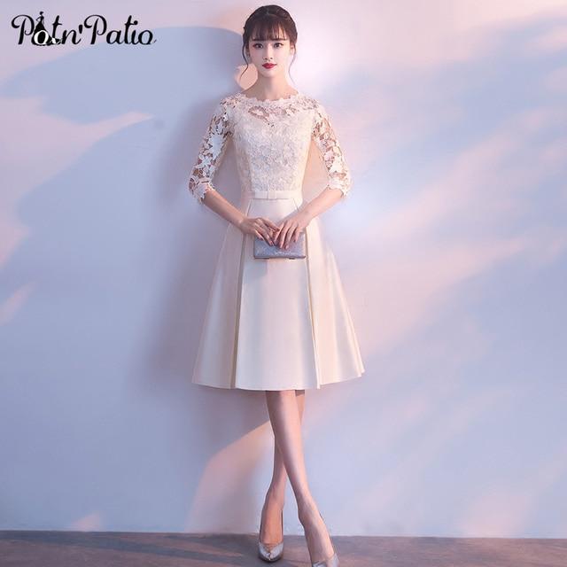 فساتين سهرة قصيرة بيضاء مع نصف كم 2019 جديدة أنيقة س الرقبة بسيطة الساتان المرأة ثوب مسائي حجم كبير