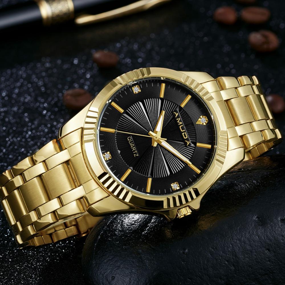 Prix pour Amuda Marque Or De Mode D'affaires Hommes Montre Or Montres À Quartz D'or Strass Mâle Montre-Bracelet relogio masculino