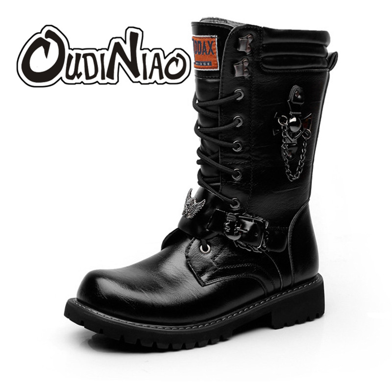OUDINIAO Army Boots Men Lace Up Chain High Military Combat Men Boots Metal Buckle Male Motorcycle
