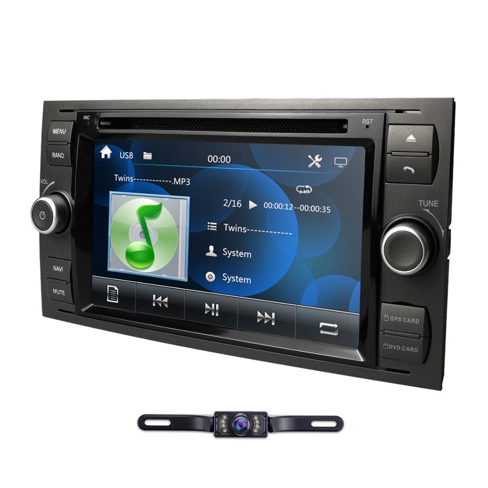 """2 Din Автомобильный dvd-плеер для Ford Focus/Mondeo/Transit/C-MAX/Fiest GPS навигация 7 """"Радио 1080P FM DAB + стальная камера управления колесом"""