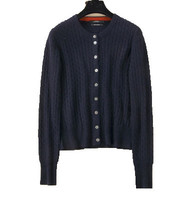 Hot Sale 2016 New Autumn And Winter Round Neck Cashmere Cardigan Slim Knitting Wool Sweater Wild