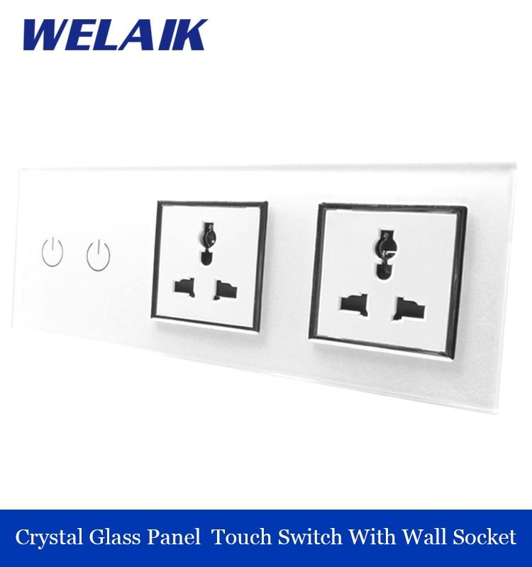 WELAIK 3 frame Crystal Glass Panel  White Black Wall Switch EU Touch Switch  Wall socket 2gang1way AC110~250V A39218MUMUW/B welaik crystal glass panel switch white wall switch eu remote control touch switch light switch 1gang2way ac110 250v a1914xw b