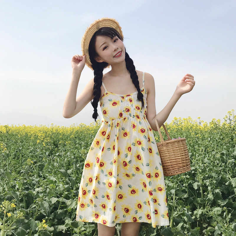 142e14baa60 Women s Dresses Japan Kawaii Ulzzang Girl Shoulder Strap Adjustable  Sunflower Harness Dress Female Cute Korean Harajuku