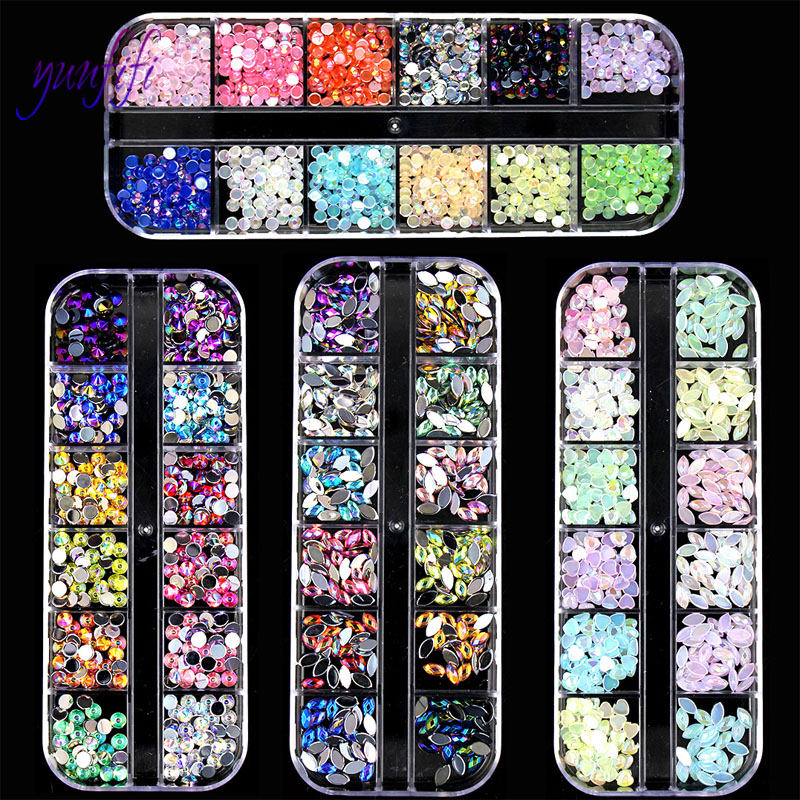 New Nail Art Jewelry Nail Jelly Diamond AB Symphony Diamond Flat Bottom Gemstone Diamond 12 Color Rhinestone