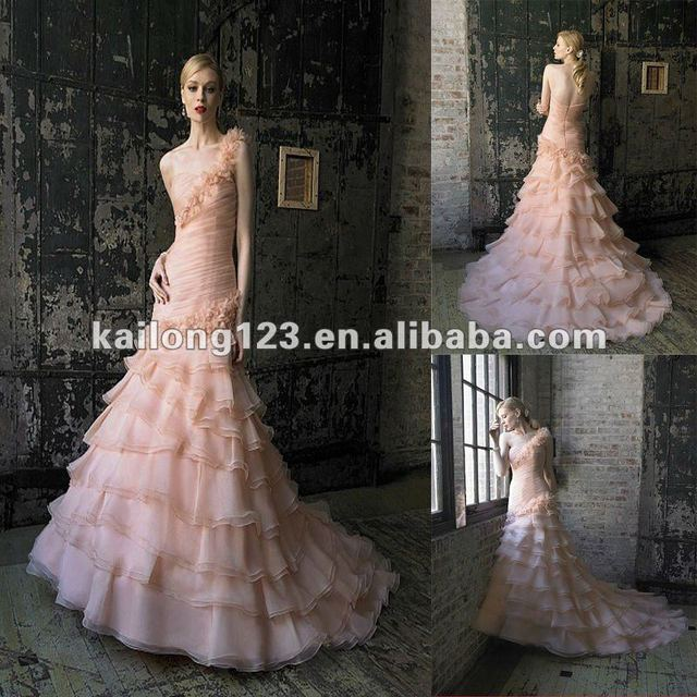 f16fdb03 Subtle Fit and Flare Cascading Layers Chapel train Peach Handmade Beaded  Rosette Organza Detachable One-shoulder Wedding Dresses