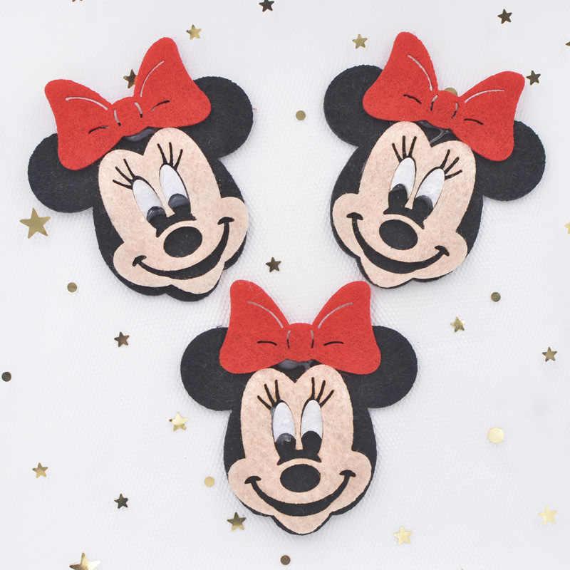 6 CM Cartoon Mickey Mouse Applicaties Geweven Gewatteerde Patches voor DIY Ambachten Colthes Haar Boog Accessoires Muursticker Decor F80