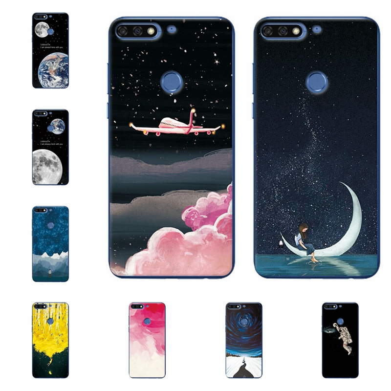 Phone Bags & Cases Careful Couple Sky Moon Earth Case For Huawei Honor 7c Soft Tpu Silicone Phone Capa Back Cover For Honor 7c Fundas Capa Coque 5.99 Inch Driving A Roaring Trade Fitted Cases